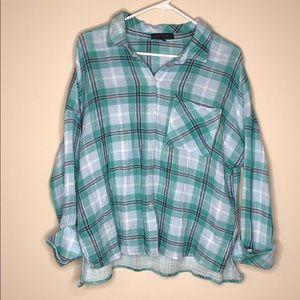 Sanctuary plaid button down cotton blouse size M